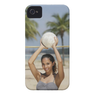 Young woman holding volleyball and smiling at iPhone 4 case