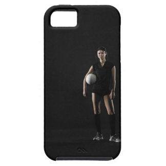 Young woman holding volleyball, portrait iPhone 5 cases