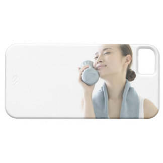 young woman holding water bottle to face iPhone 5 case