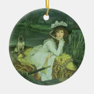 Young Woman in a Boat, or Reflections, c.1870 (oil Christmas Ornament