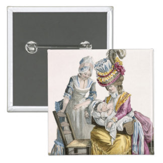 Young Woman in a Dress 'a la Levite' Breastfeeding 15 Cm Square Badge