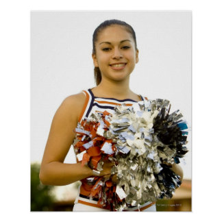 Young woman in cheerleading uniform print