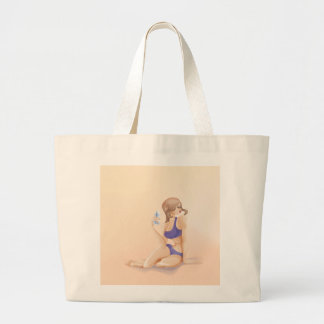 Young woman is seating and resting with bottle of tote bag