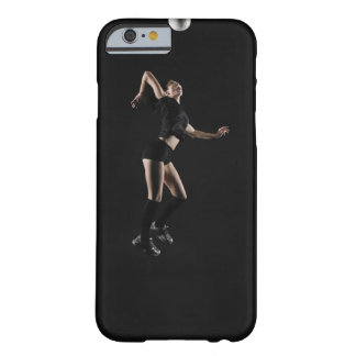 Young woman jumping to hit volleyball, side view barely there iPhone 6 case