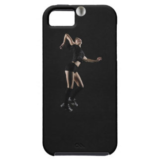 Young woman jumping to hit volleyball, side view tough iPhone 5 case