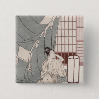 Young woman kneeling by her mosquito net, 1766 15 cm square badge