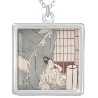 Young woman kneeling by her mosquito net, 1766 silver plated necklace