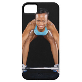 Young woman lifting barbell, portrait iPhone 5 cover
