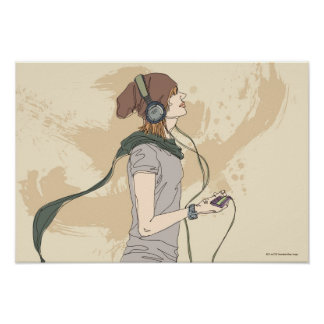 Young woman listening music poster