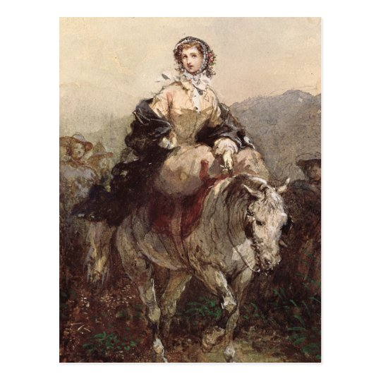 Young Woman on a Horse Postcard