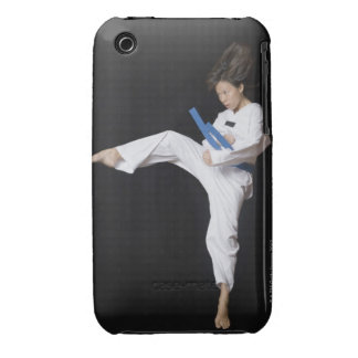 Young woman performing round kick iPhone 3 case