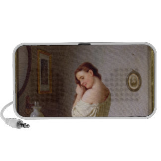 Young Woman Plaiting her Hair Travelling Speaker