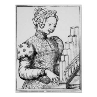 Young Woman Playing a Portative Organ Poster