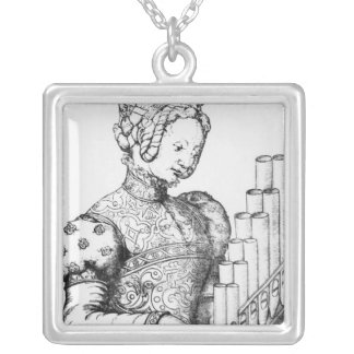 Young Woman Playing a Portative Organ Silver Plated Necklace