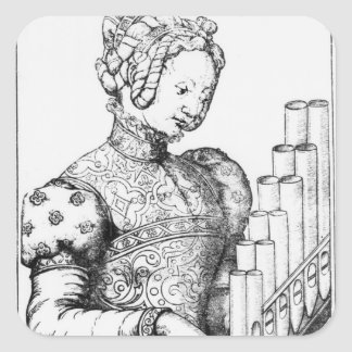 Young Woman Playing a Portative Organ Square Sticker