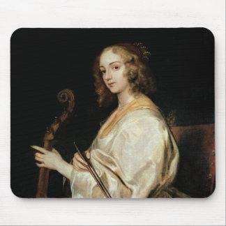 Young Woman Playing a Viola da Gamba Mouse Pad