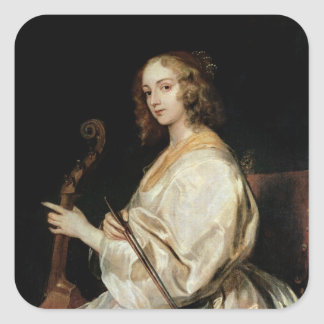 Young Woman Playing a Viola da Gamba Square Sticker
