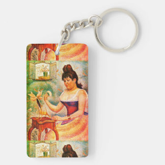 Young Woman Powdering Herself Key Ring