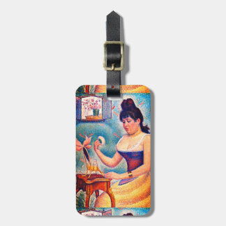 Young Woman Powdering Herself Luggage Tag