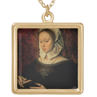 Young Woman Reading a Book of Hours (oil on panel) Gold Plated Necklace