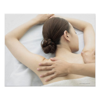 young woman receiving massage,woman in health 2 poster