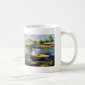 Young Woman Seated in a Rowboat by Pierre Renoir Coffee Mugs