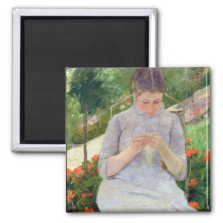 Young Woman Sewing in the garden, c.1880-82 Magnet