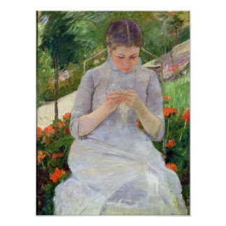 Young Woman Sewing in the garden, c.1880-82 Poster