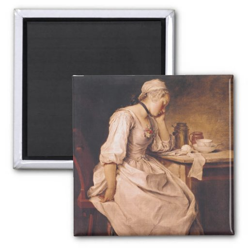 Young Woman Sleeping Refrigerator Magnet