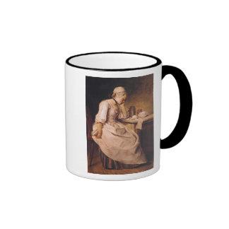 Young Woman Sleeping Ringer Mug