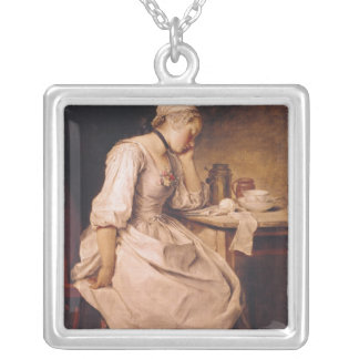 Young Woman Sleeping Silver Plated Necklace