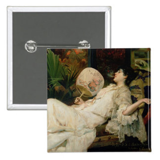 Young Woman Smoking, 1894 15 Cm Square Badge