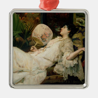Young Woman Smoking, 1894 Silver-Colored Square Decoration