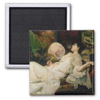 Young Woman Smoking, 1894 Square Magnet