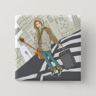 Young woman standing on street with luggage 15 cm square badge