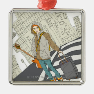 Young woman standing on street with luggage christmas ornament