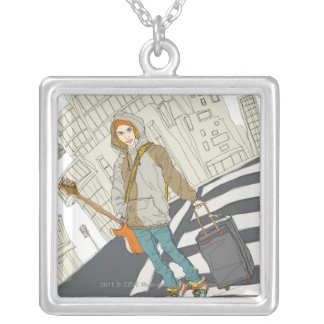 Young woman standing on street with luggage silver plated necklace