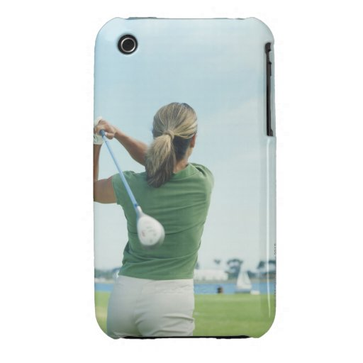 Young woman swinging golf club, rear view iPhone 3 Case-Mate cases
