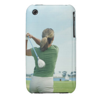Young woman swinging golf club, rear view iPhone 3 Case-Mate case
