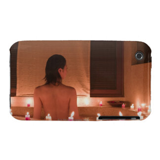 Young woman taking bath with flower petals iPhone 3 Case-Mate case