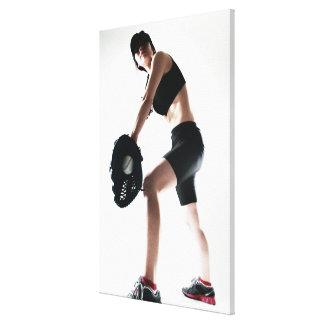 young woman training,baseball canvas print