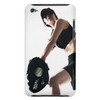 young woman training,baseball iPod touch cover