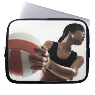 young woman training,volleyball laptop sleeve