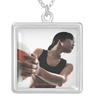 young woman training,volleyball silver plated necklace