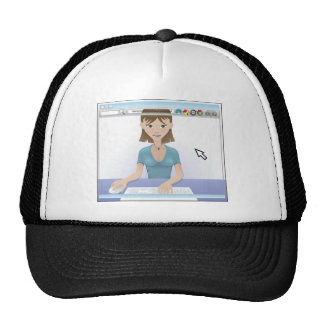 Young woman using the internet trucker hat