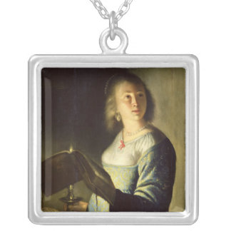 Young Woman with a Candle Silver Plated Necklace