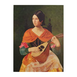 Young Woman with a Mandolin, 1845-47 Wood Print