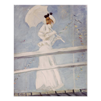 Young Woman with a Parasol on a Jetty Poster