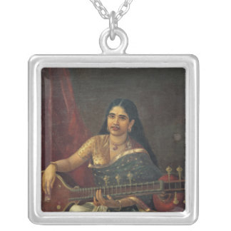 Young Woman with a Veena Silver Plated Necklace