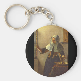 Young Woman with a Water Jug._Dutch Masters Basic Round Button Key Ring